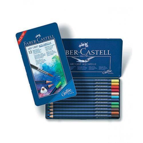 Lápis de Cor Aquarelável Faber Castell Art Grip Estojo Metal 012 Cores 114212