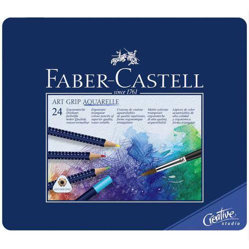 Lápis de Cor Aquarelável Faber Castell Art Grip Estojo Metal 024 Cores 114224
