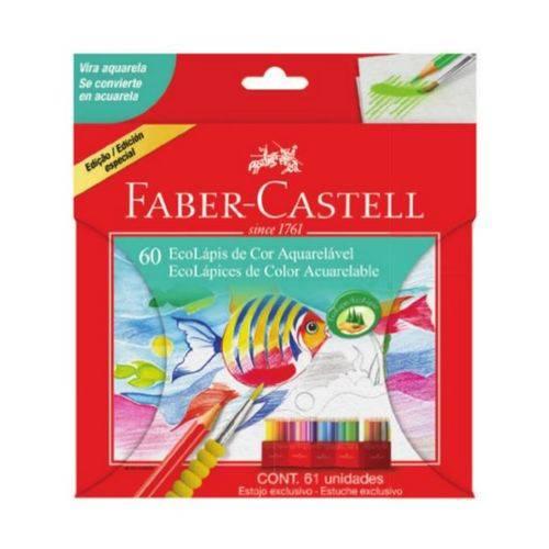 Lápis de Cor Aquarelável Faber-Castell Ecolápis 60 Cores + 1 Pincel