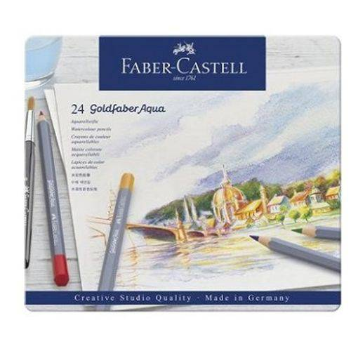 Lápis de Cor Aquarelável Faber Castell Goldfaber Estojo Metal 024 Cores 114624
