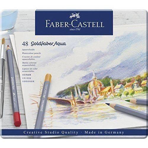 Lápis de Cor Aquarelável Faber Castell Goldfaber Estojo Metal 048 Cores 114648N