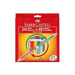 Lápis de Cor Bicolor 24 Lápis - 48 Cores - Faber-Castell