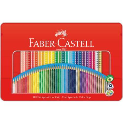 Lápis de Cor Colour Grip Faber Castell - Estojo Lata com 48 Cores