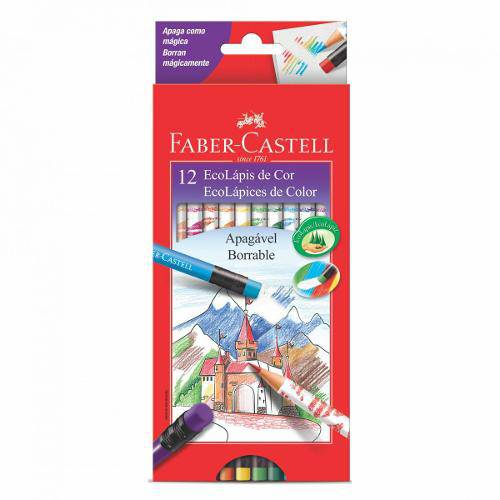 Lápis de Cor Ecolápis 12 Cores Apagável com Borracha Faber Castell Apag-121212ggb
