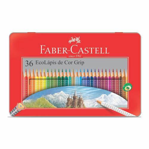 Lápis de Cor Ecolápis Grip Estojo Lata 36 Cores Faber Castell - 121036lt