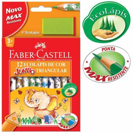 Lápis de Cor Ecolápis Jumbo Triangular 12 Cores Faber Castell + 1 Apontador Jumbo