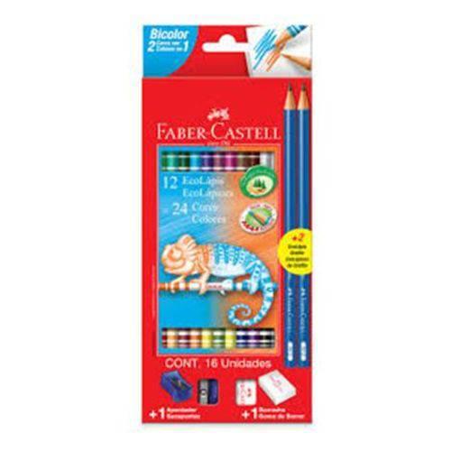 Lápis de Cor Faber-Castell Bicolor 12 Lápis - 24 Cores
