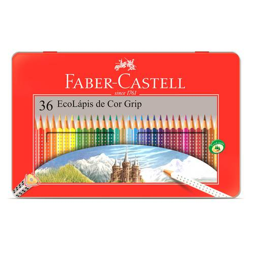 Lápis de Cor Faber-Castell Ecolápis Grip Lata 36 Cores