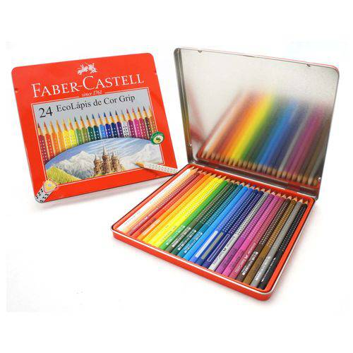 Lápis de Cor Grip Estojo Lata com 24 Cores Ref.121024lt Faber-castell