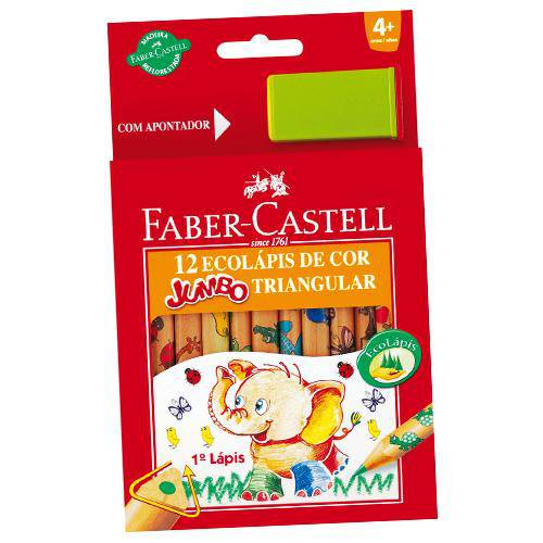 Lapis de Cor Jumbao Ecolapis 12 Cores Decorado Pct.C/06 Faber-Castell
