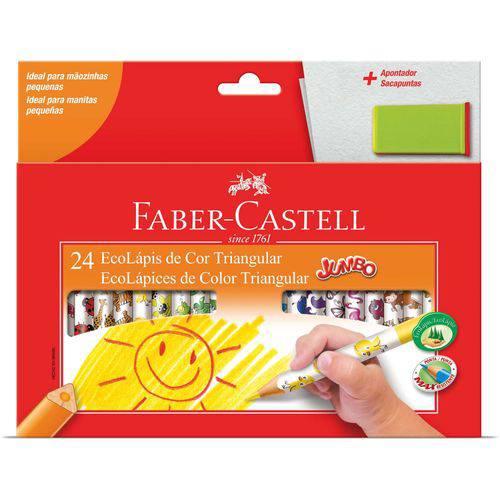Lapis de Cor Jumbao Ecolapis 24 Cores Decorado Faber-castell Pct.c/06