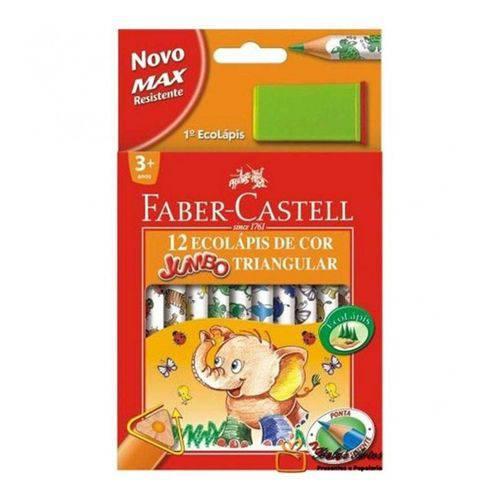 Lápis de Cor Jumbo Triangular 12 Cores + 1 Apontador Faber-Castell