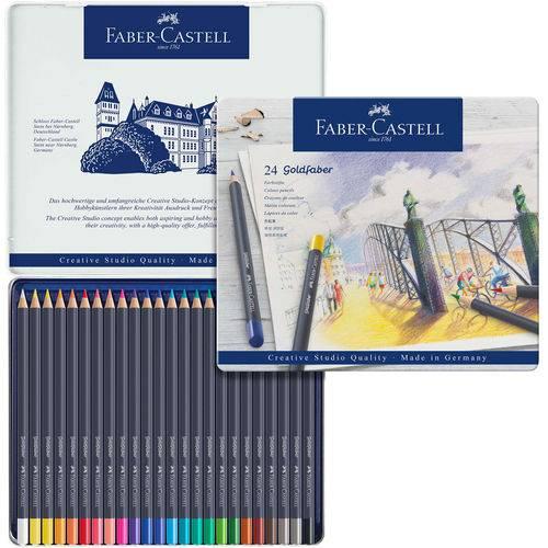 Lápis de Cor Permanente Goldfaber Faber-castell Estojo Metálico com 24 Cores - Ref 114724
