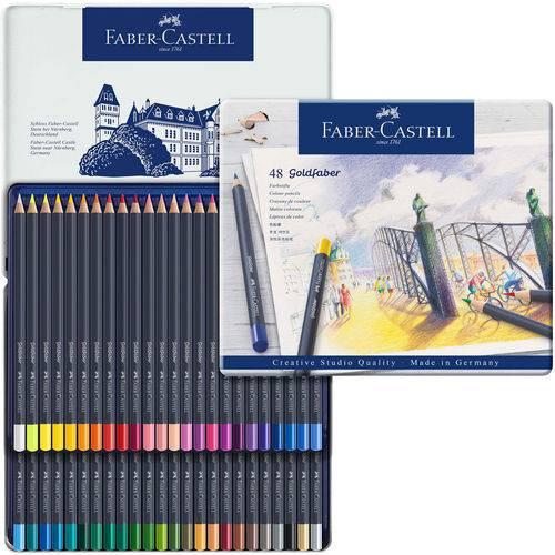 Lápis de Cor Permanente Goldfaber Faber-castell Estojo Metálico com 48 Cores - Ref 114748