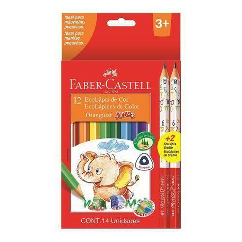 Lápis de Cor Triangular Jumbo 12 Cores 2 Ecolápis Faber Castell
