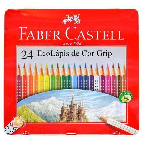 Lápis Faber-Castell Ecolápis Grip - Estojo de Metal - 24 Cores