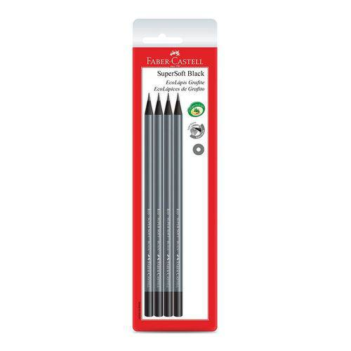 Lápis Preto EcoLápis Grafite SuperSoft Faber-Castell Cartela com 4 Unidades