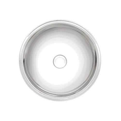 Lavabo Redondo de Sobrepor em Aco Inox Alto Brilho 28cm
