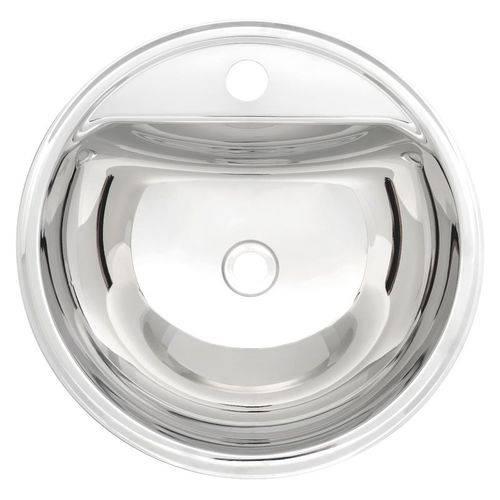 Lavabo Semicircular de Sobrepor em Aco Inox Alto Brilho 38cm