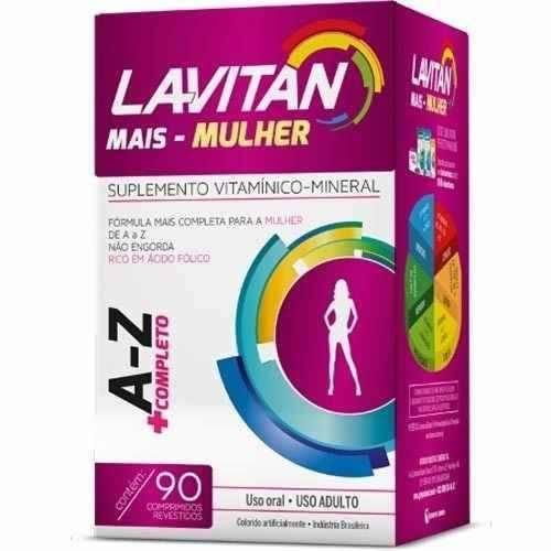 Lavitan Mais Mulher com Ácido Fólico - A-z 90cpr Energia Imunidade Cabelos e Unhas