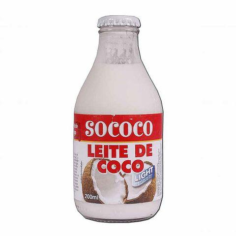 Leite de Coco Light Vidro 200ml - Sococo
