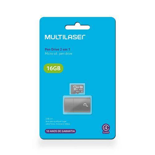 Leitor Usb + Cartão de Memória Classe 4 16gb Multilaser - Mc