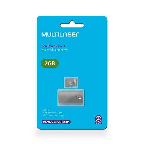 Leitor USB + Cartão de Memória Classe 4 2gb Multilaser