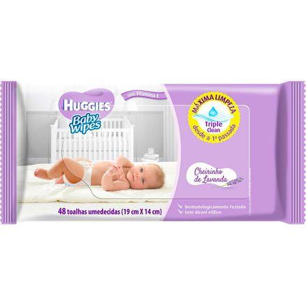 Lenço Umedecido Huggies Baby Wipes Cheirinho de Lavanda 48 Unidades