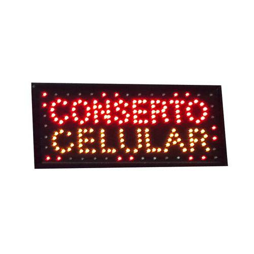 Letreiro Led Painel Luminoso Placa de Aviso Loja - Conserto Celular