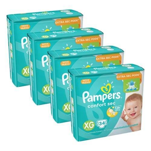Leve Mais Pague Menos 4 Pacotes de Fraldas Pampers Confort Sec Xg com 34 Unidades Cada