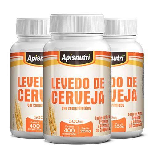 Levedo de Cerveja - 3 Un de 400 Comprimidos - Apisnutri