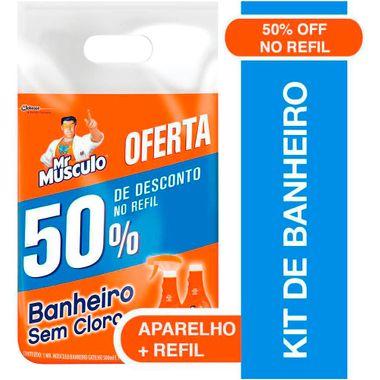 Limpador de Banheiro Mr Músculo 500ml + Refil Sachê 400ml com 50% Desconto