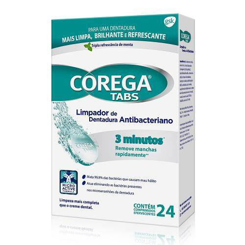 Limpador de Dentadura Corega Tabs 3 Minutos C/ 24