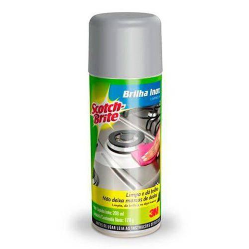 Limpador de Inox Brilha Inox Spray Scotch-brite 3m 170g 200ml