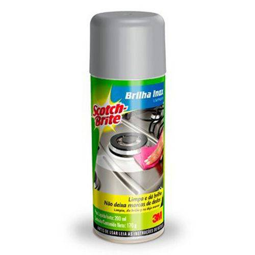 Limpador Spray Brilha Inox Scotch-brite 170g 3m