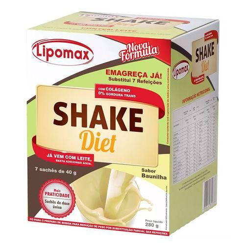 Lipomax Shake Diet Sabor Baunilha C/ 7 Sachês de 40g Cada