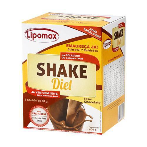 Lipomax Shake Diet Sabor Chocolate C/ 7 Sachês de 58g Cada