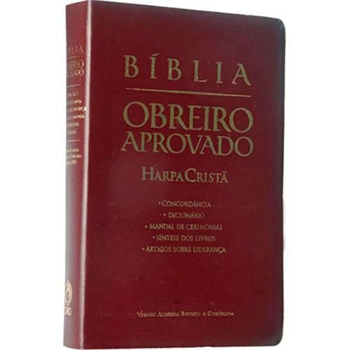 Livro - Bíblia Obreiro Aprovado: Harpa Cristã Luxo (Vinho)