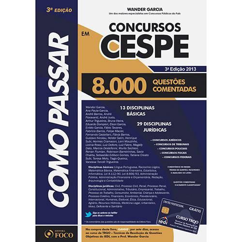 Livro - Como Passar em Concursos da CESPE: 8.000 Questões Comentadas
