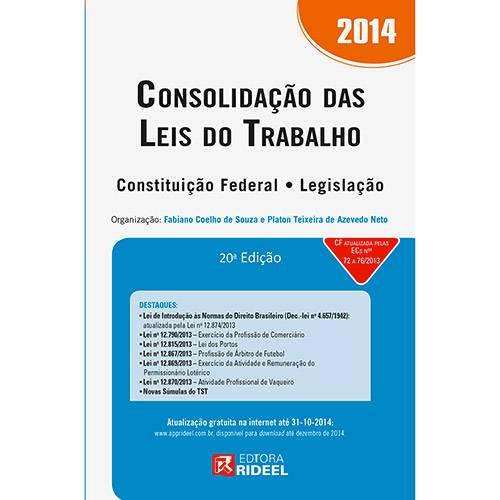 Livro - Consolidação das Leis do Trabalho 2014 - Constituição Federal - Legislação