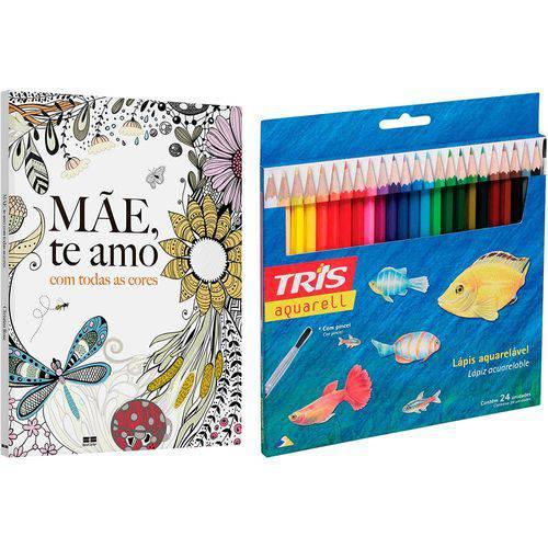 Livro para Colorir Adulto Mãe, te Amo com Todas as Cores + Lápis de Cor Tris Aquarell + Pincel 24 Cores