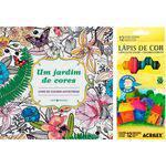 Livro para Colorir Adulto um Jardim de Cores + Lápis de Cor Acrilex Hexagonal 12 Cores