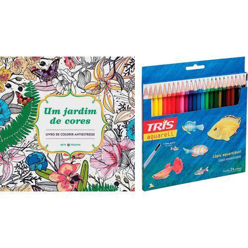 Livro para Colorir Adulto um Jardim de Cores + Lápis de Cor Tris Aquarell + Pincel 24 Cores