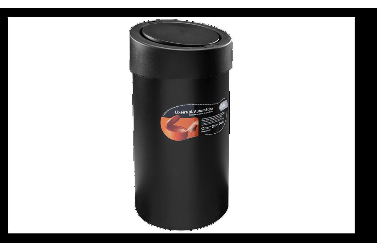Lixeira Automática 9 L 20 X 20 X 39,5 Cm Preto Coza