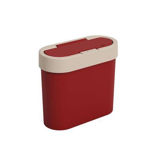 Lixeira Automática Coza Flat 2.8 L Vermelha Bold e Cinza