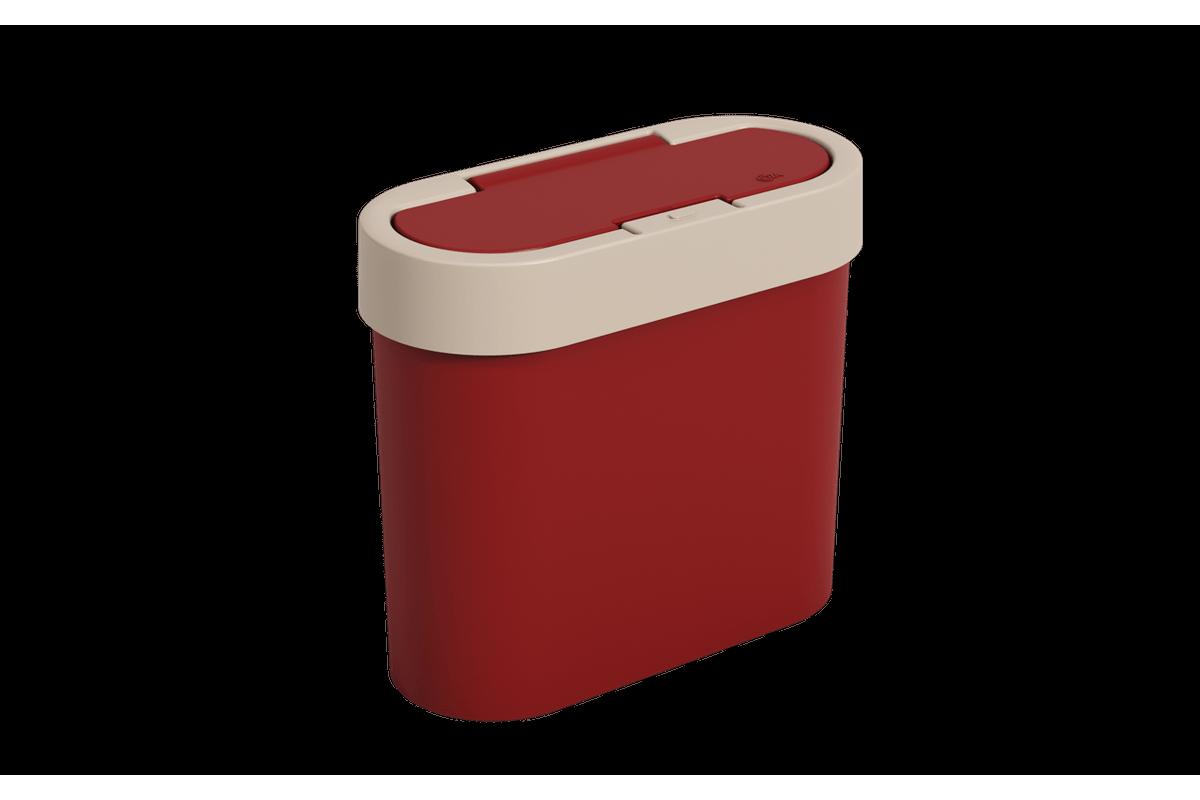 Lixeira Automática Flat 2,8 L 11 X 23,5 X 20,5 Cm Vermelho Bold e Light Gray Coza