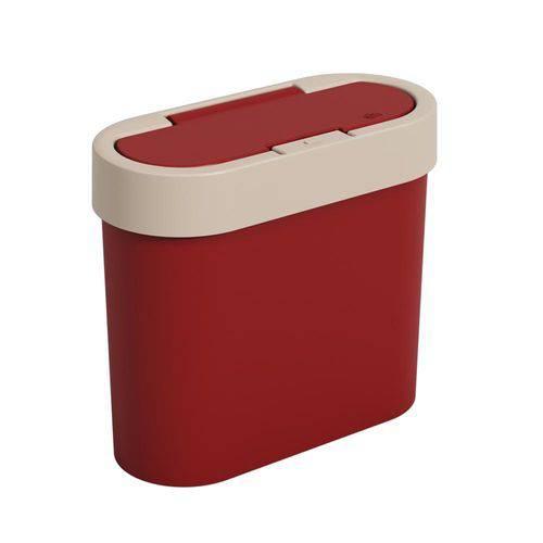 Lixeira Automática Flat 2,8 L Vermelho Bold e Light Gray - Coza