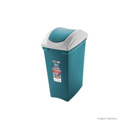 Lixeira Basculante Slim Color 15 Litros Azul e Branca Sanremo