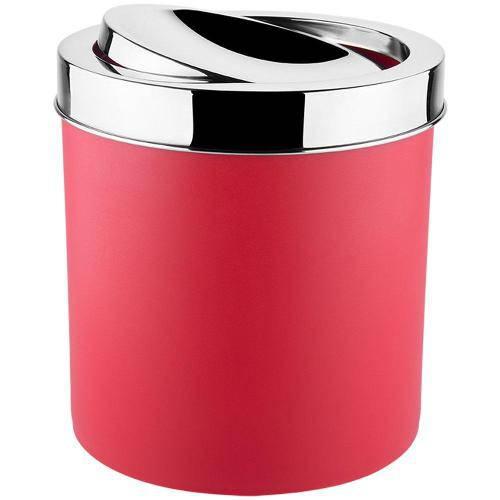Lixeira Basculante Vermelha 5,4 Litros Tampa Inox