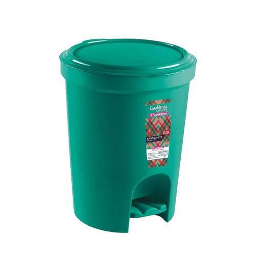 Lixeira C/ Pedal 13,5l Plástico Decorativa Verde
